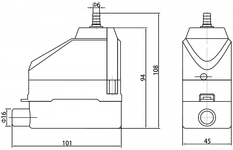 HYP-DP30-M Dairy Case Pump Dimensions Diagram