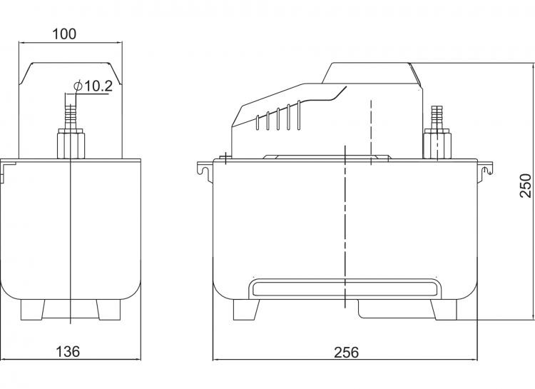 HYP-HT2 High Temperature Reservoir Condensate Pump Dimensions Diagram
