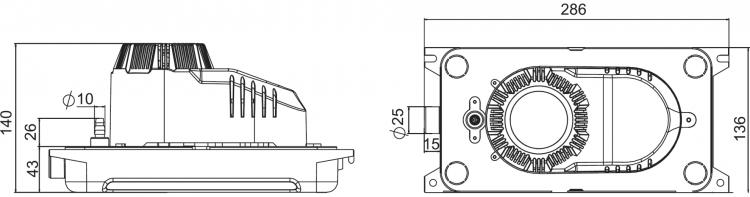 HYP-MT1 Reservoir Condensate Pump Dimensions Diagram