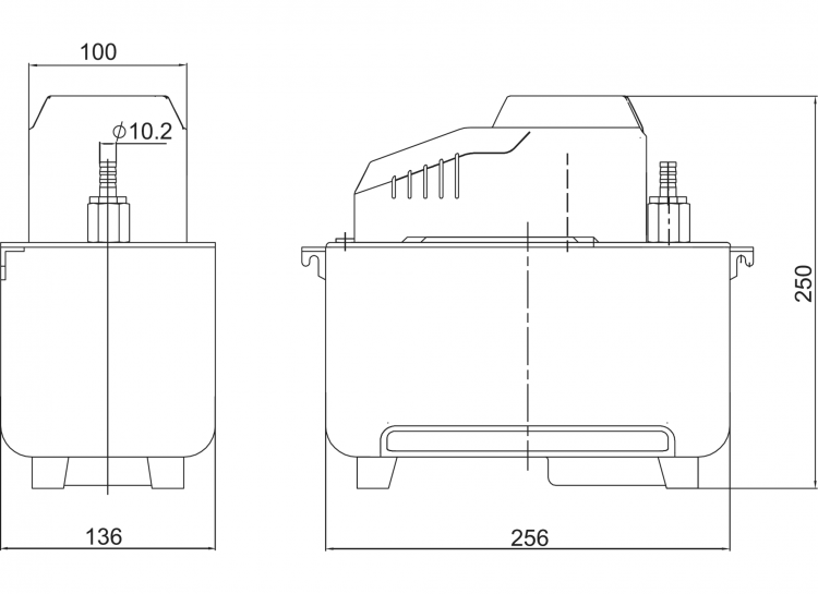 HYP-MT3 Reservoir Condensate Pump Dimensions Diagram